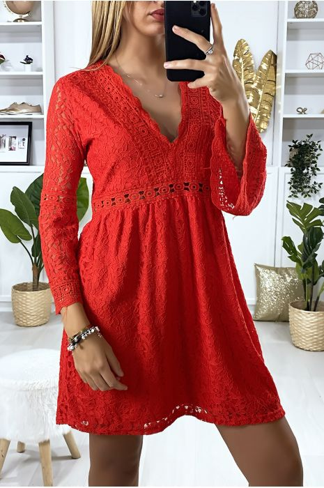 Sublime Red Dress In Lined Lace With Embroidery On The Contours