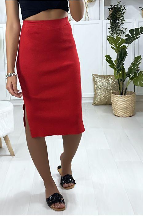 Jupe 3/4 en tricot rouge avec fente