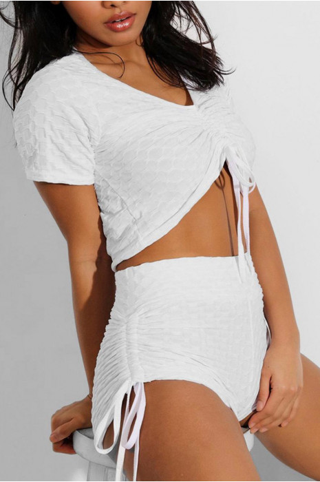 Ensemble push up yoga short et crop top blanc