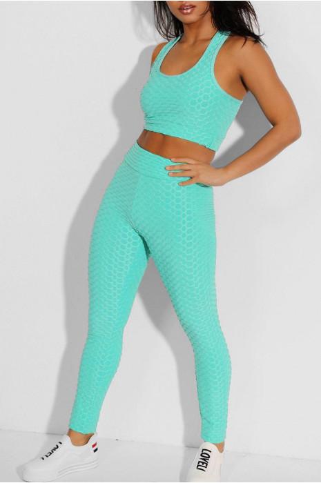 Blauwe legging en push-up top