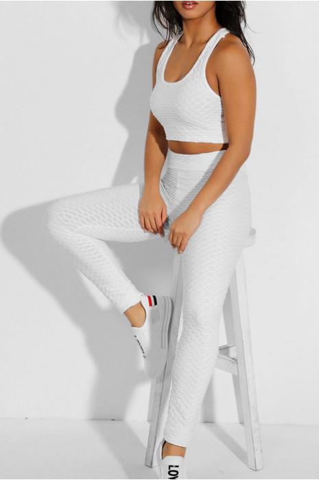 Ensemble legging et top push up blanc