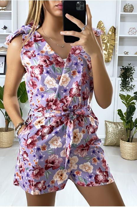 Combinaison lila croisé motif fleur avec poches et ceinture