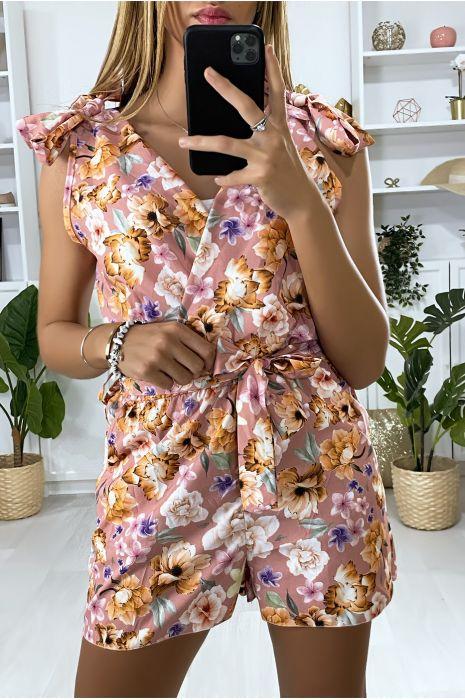Combinaison rose croisé motif fleur avec poches et ceinture