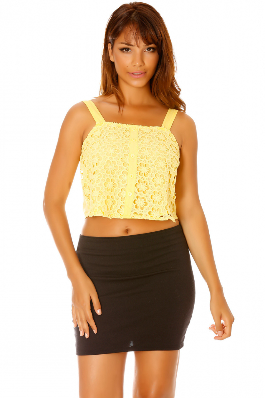 Yellow crop top with lace front and buttoning. Fashion Mc 8062