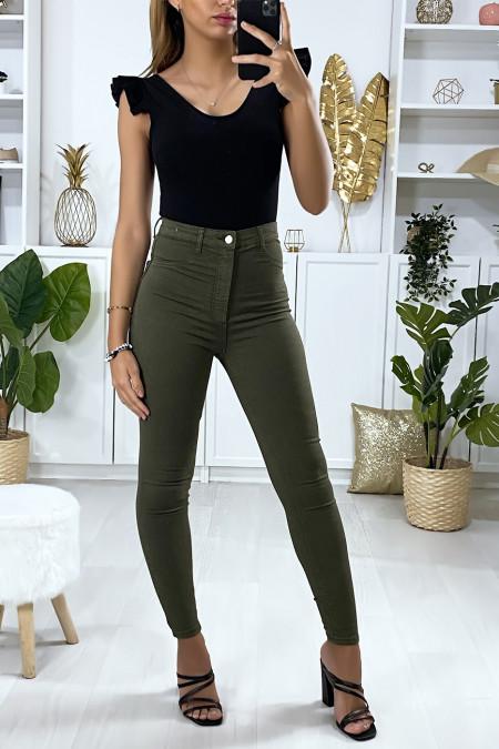Jeans slim en kaki avec fausse poches à l'avant