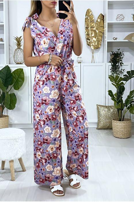 Combinaison lila motif fleuris avec noeud au bretelles