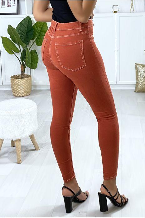 Jeans slim en corail avec fausse poches à l'avant