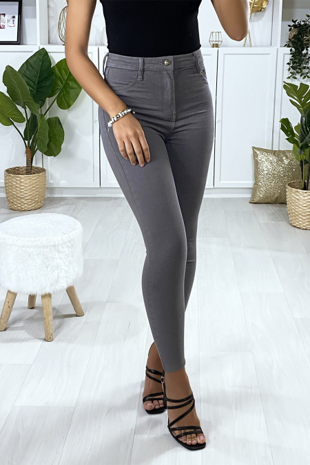 Slim jeans in gray with fake front pockets