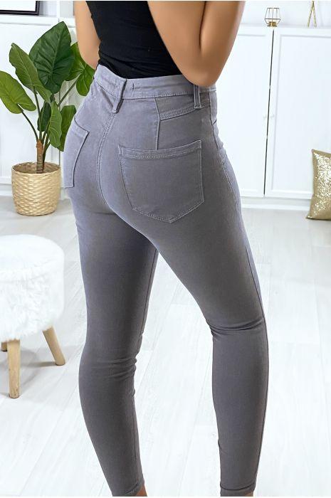 Jeans slim en gris avec fausse poches à l'avant