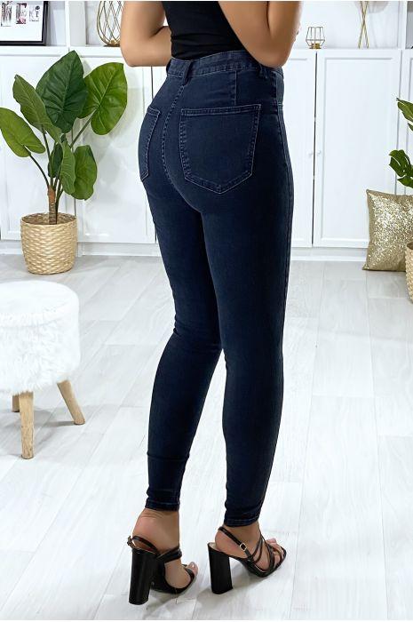 Jeans slim en bleu délavé avec fausse poches à l'avant