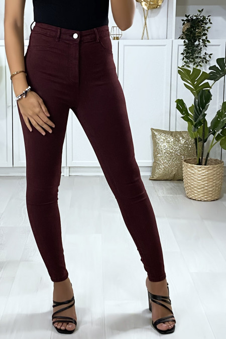 Slim jeans in burgundy with fake front pockets