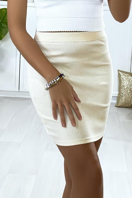 Beige mini skirt in ribbed material