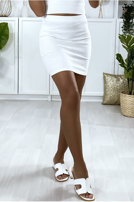 Mini jupe blanc en matière côtelé