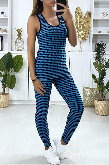 Ensemble legging et débardeur push up en bleu avec motif