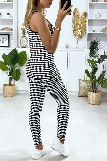 Legging en push-up tanktop in wit met patroon