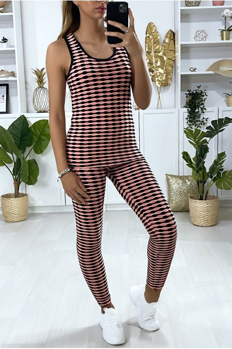 Roze legging en push-up tanktop met patroon