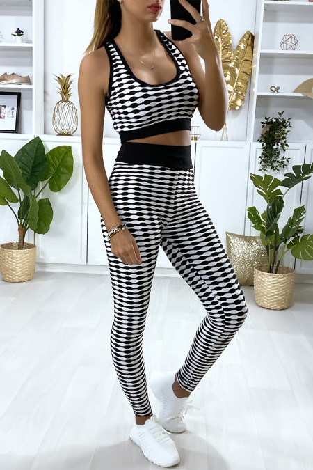 Push up legging and crop top set in white with pattern