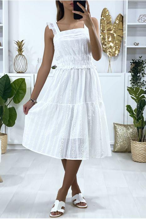 Witte kanten jurk met ruches en bandjes
