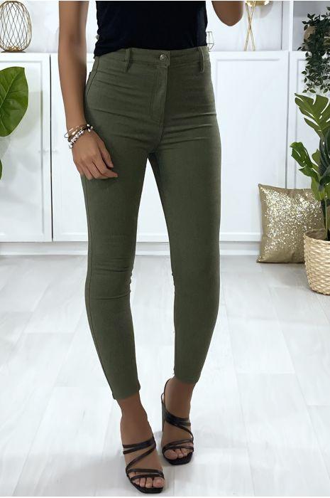 Jeans slim en kaki avec poches à l'arrière