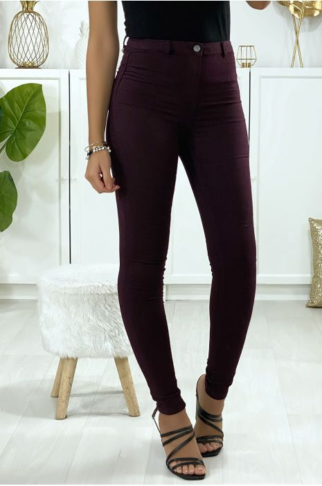 Slim jeans in paars met achterzakken