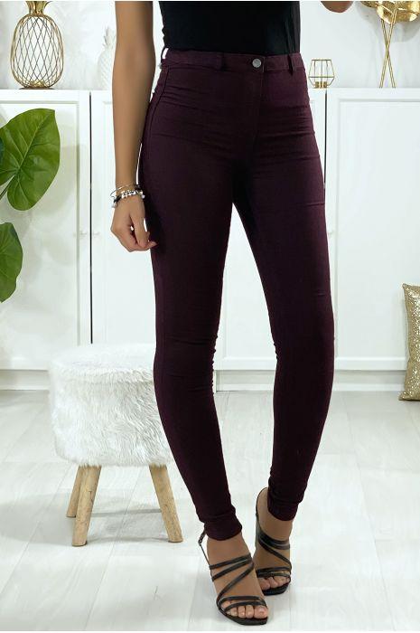 Jeans slim en violet avec poches à l'arrière