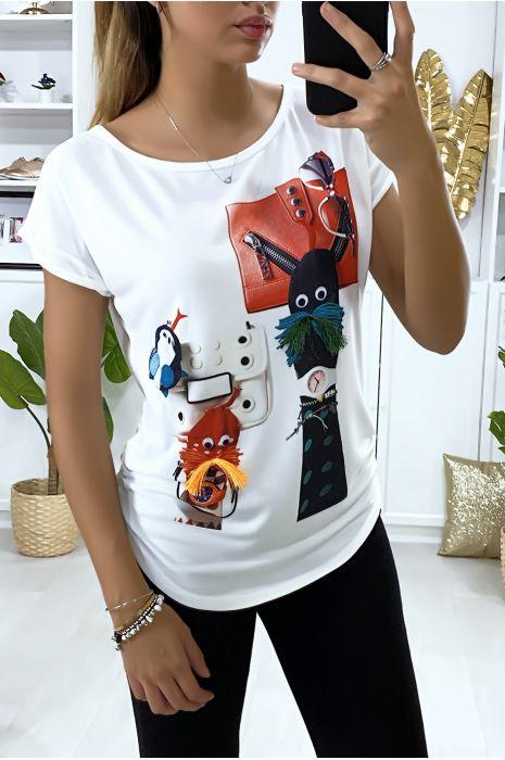 Tee-shirt blanc avec dessin devant