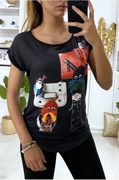 Tee-shirt noir avec dessin devant