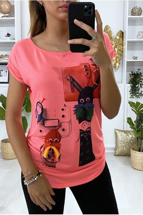 Tee-shirt fuchsia avec dessin devant