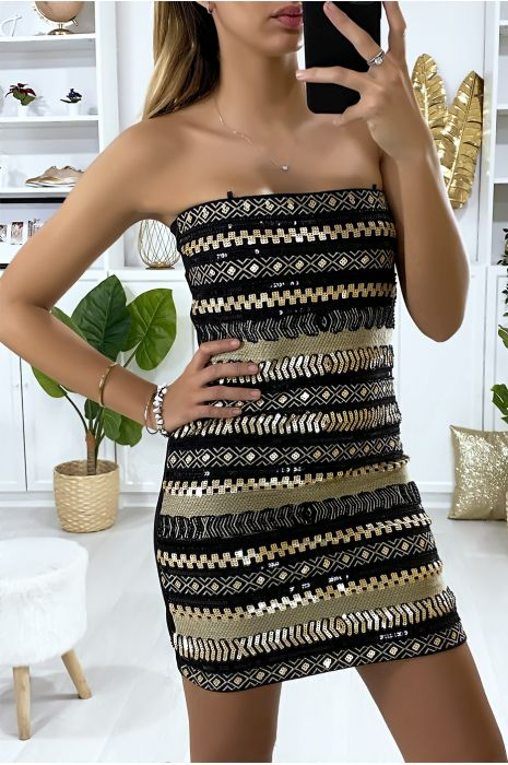 Black Evening Dress With Gold Sequins And Embroidery