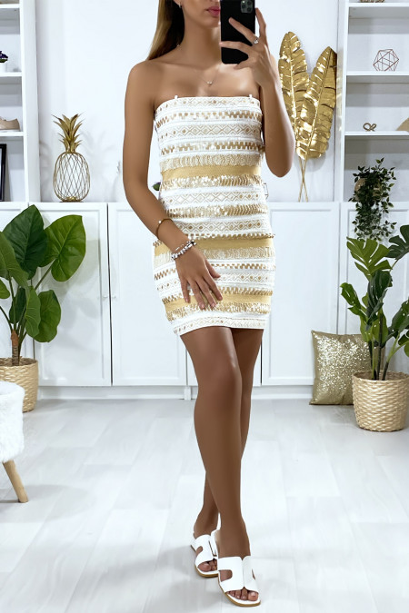 White evening dress with gold sequins and embroidery