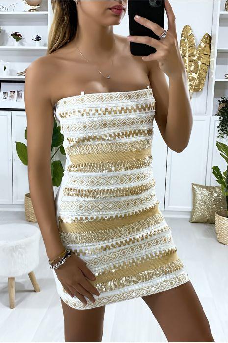 Robe de soirée blanche avec paillette doré et broderie