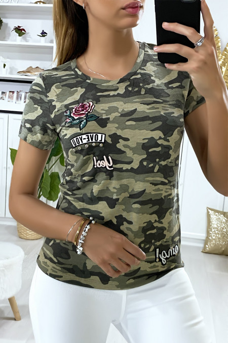 Military khaki t-shirt with embroidery