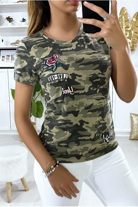 T-shirt kaki militaire avec broderie