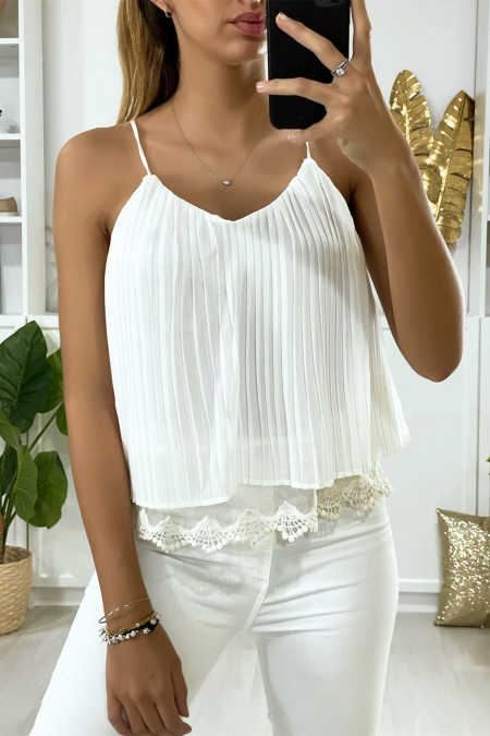 White pleated tank top with ruffle and lace