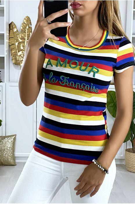 Tee-shirt multicolore avec écriture brodé AMOUR à la française