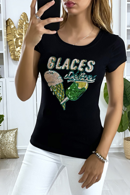 Black t-shirt with rhinestone design