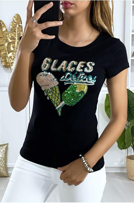 Tee-shirt noir avec dessin en strass