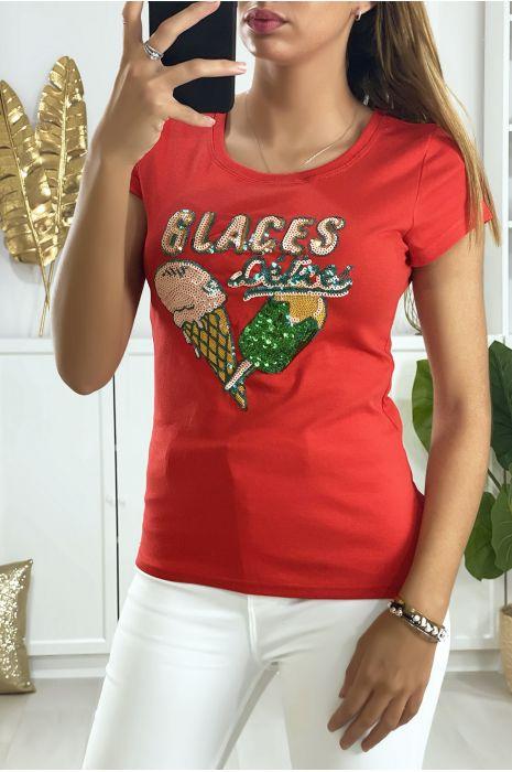 Tee-shirt rouge avec dessin en strass