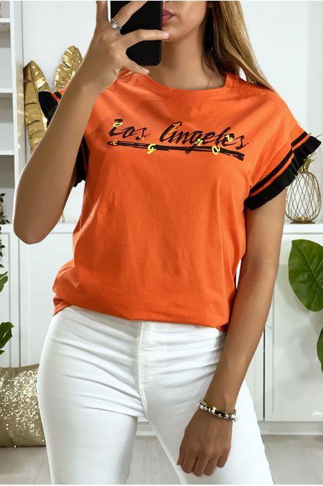 Koraalkleurig oversized t-shirt met Los Angels-opschrift