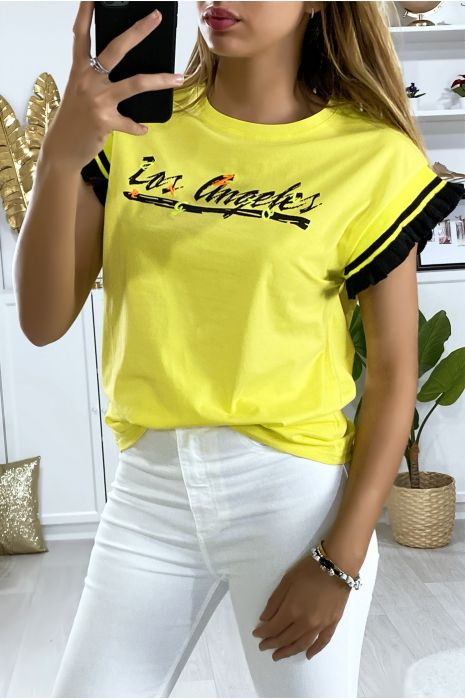 Tee shirt jaune over size avec écriture Los Angels