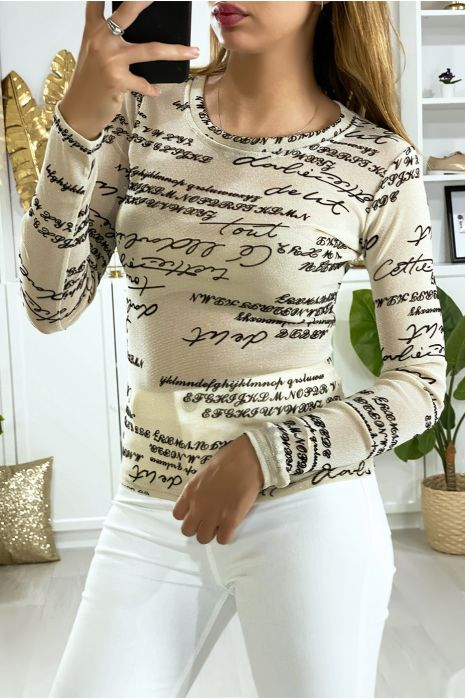 Beige glanzende stof onder trui met tekst
