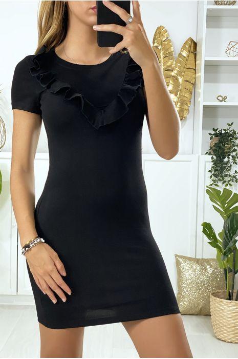 Zwarte jurk met volant bij de buste