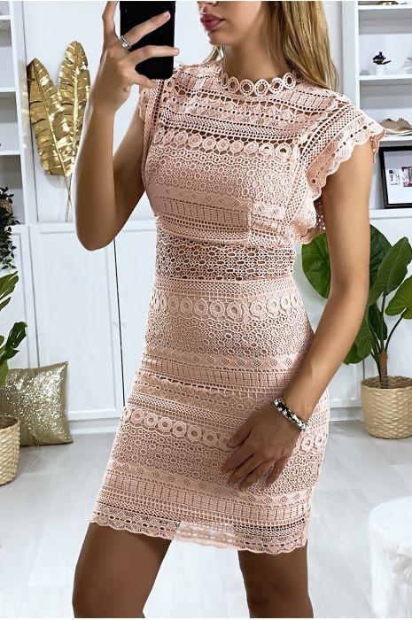 Roze kanten jurk gevoerd met sluiting aan de achterkant