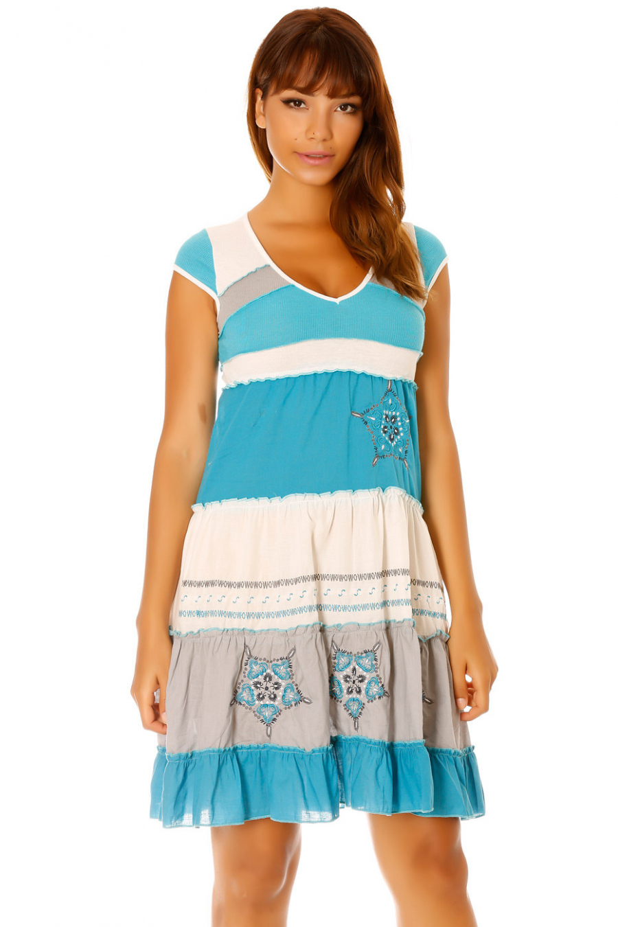 Robe tricolore à tendance turquoise, motif broder. Femme 929