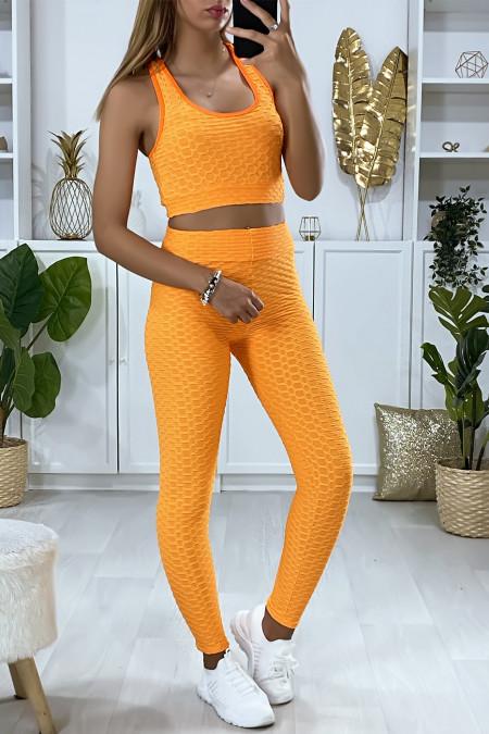 Ensemble legging et top push up orange