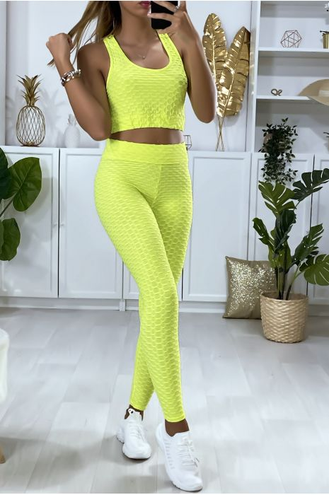Gele legging en push-up top