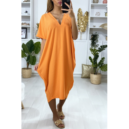 Robe orange longue et ample