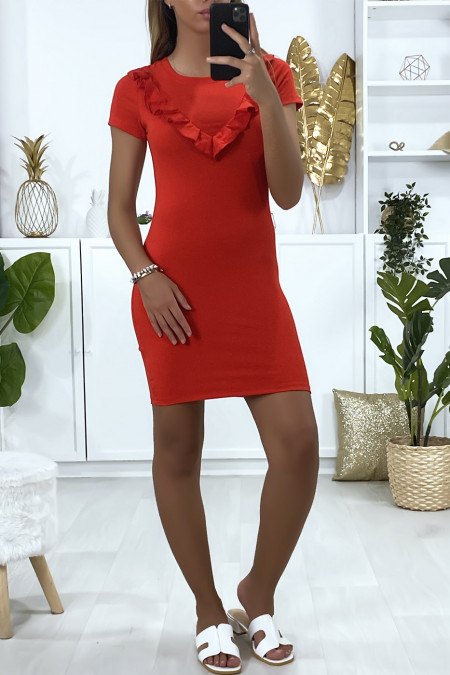 Red dress with ruffle at the bust