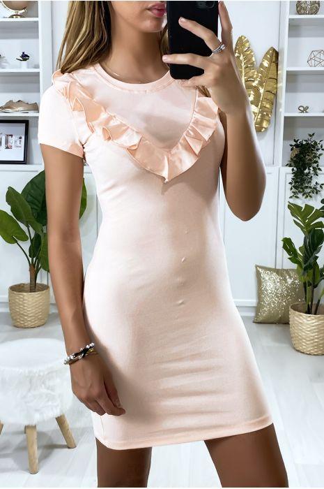 Roze jurk met ruche bij de buste