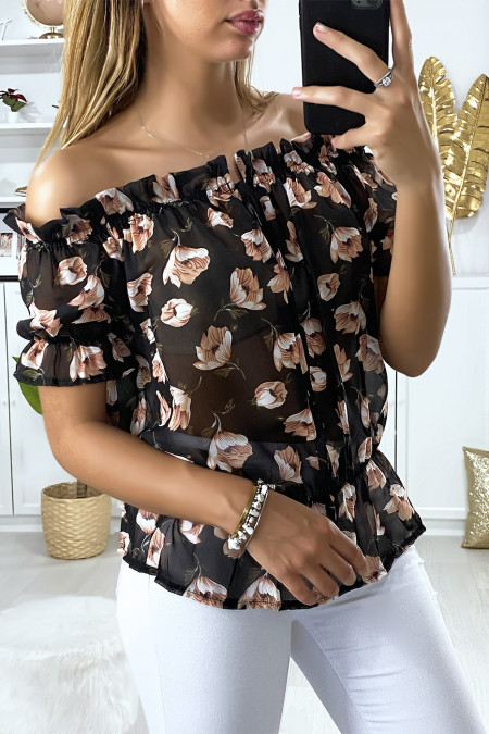 Black boat neck blouse with floral pattern